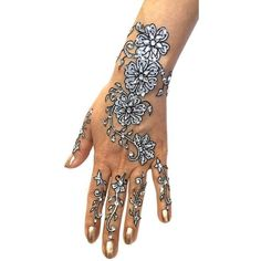 6-Piece Glitter and Beads Henna Temporary Tattoo Set ($6.99) ❤ liked on Polyvore featuring accessories and body art