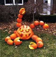 Extreme Pumpkin Carving..I would not have come near this house when I was little ...ewwwww!