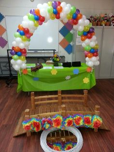 """Girl Scout Bridging Ceremony Daisy to Brownie Balloon arch with 5"""" balloons #BalloonsbyMondai"""