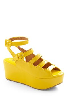 ridiculous yellow! love 'em!     Platform Follows Function Wedge, #ModCloth