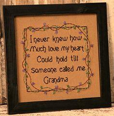 New Primitive Country Sampler Grandma Heart Love Purple Flower Framed Stitchery | eBay