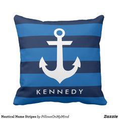 Nautical Name Stripes Throw Pillow