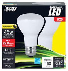 Feit Electric R20DM45/LED/2 Dimmable LED Light Bulb, 6.8 W