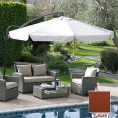 11' Offset Umbrella w/ Detachable Net Mosquito Pool Spa Patio Park Table Tuscan