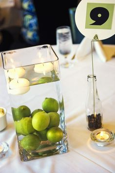 green Centerpieces - use a different citrus to make a new color