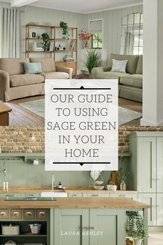 Discover how to use the on-trend, earthy tone of sage green in your home to create a stunning contemporary look with a natural edge. Farm House Living Room, Interior, Cream Living Rooms, Green Walls Living Room, Living Room Grey, Green Kitchen Walls, Sage Green Living Room, Sage Green Furniture, Green Living Room Color Scheme