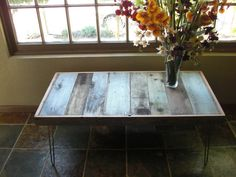 reclaimed wood upcycled to coffee table with hairpin legs