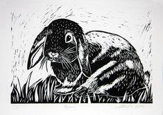 Bunny Rabbit Lino Cut Print, handmade, art, gift by claralawlino on Etsy https://www.etsy.com/listing/261539003/bunny-rabbit-lino-cut-print-handmade-art