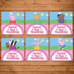 Peppa Pig Valentines Day Card  Pink by NineLivesNotEnough on Etsy