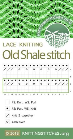 Org — Old Shale Stitch Chart. Techniques used: Knit and Purl, Yarn over, — Old Shale Stitch Chart. Techniques used: Knit and Purl, Yarn over, Lace Knitting Patterns, Knitting Stiches, Knitting Blogs, Circular Knitting Needles, Knitting Charts, Loom Knitting, Baby Knitting, Stitch Patterns, How To Purl Knit