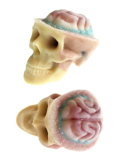 "Delicious Chocolate Skulls Have Exposed ""Brains"" Made Of Nuts And Candy. and they look gross!"