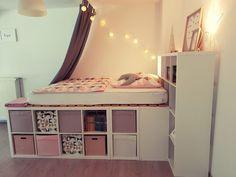 Ein Hochbett Aus Ikea Kallax Regalen In 2020 Ikea Kallax Shelf Diy Room Decor For Teens Kallax Ikea