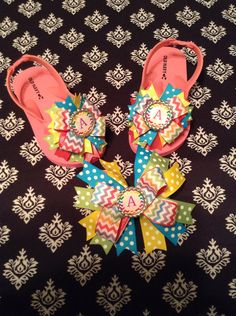 7961750eada43c Embellished Initial flip flops and hair bow set (Toddler size listing) on  Etsy
