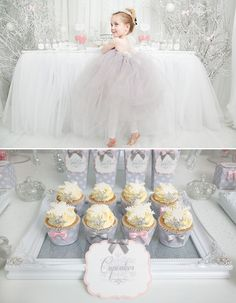 I would love to do something like this for Sofia's 1st birthday party! :D Whimsical & Wintery Snow Princess Dessert Table
