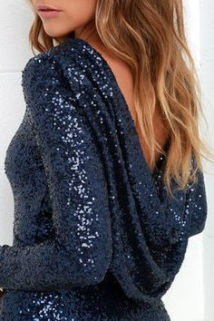 Gleam Back Navy Blue Sequin Dress at Lulus.com!