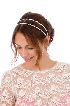 Lux Collection - A double strand of ivory fresh water pearls make this headband the perfect finishing touch for a vintage inspired look. The pearls are attached to a luxurious double faced satin ribbon in the color of your choice.    2 x 20 inch strands of pearls  20 inch satin ties              PLE...    $148