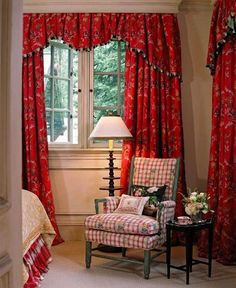 Guest bedroom idea. Love the line of the curtains.  and of course all the red accents!!
