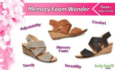 Simple, yet stylish best describes this strappy memory foam wedge.   http://luckyfeetshoes.com/strappy-memory-foam-wedge-toree