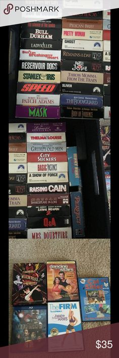 🎞🎞Set of of 35 VHS Classic Movies🎞🎞 I have 35 VCR movies plus a few DVD's to throw in as well that I am selling as a group set. Classic movies inclusive top gun, Thelma and Louise, reservoir dogs etc.... That's a dollar a movie!!! See pictures for titles. No discounts unless bundled and no trades. Other