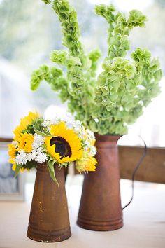 Sunflower Farm Wedding From Salt Harbor Designs & Millie Holloman Photography  Read more - http://www.stylemepretty.com/2010/05/13/sunflower-farm-wedding-from-salt-harbor-designs-millie-holloman-photography/