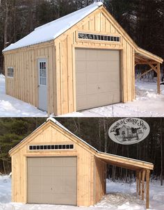 This design is now on display at the Vermont Factory, take the tour, see how they are made and walk into a huge display yard including a One Bay Garage. Standing proud and looking it's best, this storage shed fits a small to medium size car. Garage Double, Double Barn Doors, Garage Shed, Garage Exterior, Garage Kits, Shed Construction, Firewood Shed, Backyard Sheds, Garden Sheds