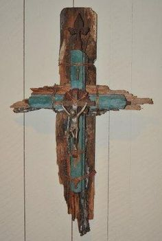 crucifix made from menagerie of found objects:  www.olioartshop.com www.theredvault.com