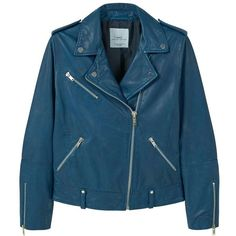 Leather Biker Jacket ($100) ❤ liked on Polyvore featuring outerwear, jackets, fleece-lined jackets, blue jackets, leather biker jacket, studded leather jacket and leather moto jacket