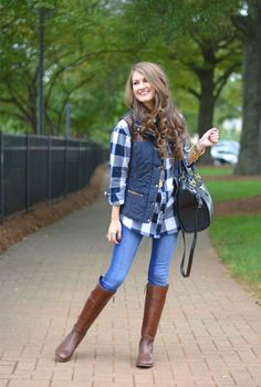 blue puffer vest, How to wear  puffer vests http://www.justtrendygirls.com/how-to-wear-puffer-vests/