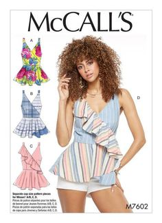 McCall's top sewing pattern with multiple cup options M7602: Misses' Mock-Wrap Top with Peplum and Flounce Options