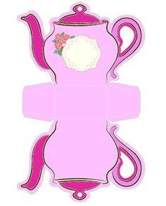Molde Decorado Caixinha de Bule de Chá