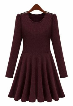 This Purple Pleated Dress would be cute with high heels or boots.