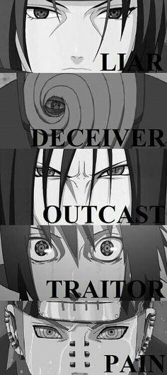 Itachi, Obito, Orochimaru, Sasuke, Madara