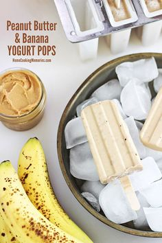 Peanut Butter and Banana Yogurt Pops - this frozen treat is healthy, easy-to-make, and only needs 4 ingredients! @HomeCookMemory