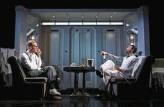 Lawrence Fox and Jack Huston in Strangers on a Train at the Gielgud Theatre in London, All the spectacles in this production were supplied by General Eyewear. General Eyewear, Double Bind, In His Time, London Theatre, Blue Rooms, Playwright, West End, Musicals, Train