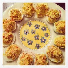 Spicy Deviled Eggs with Ham--made with siracha!