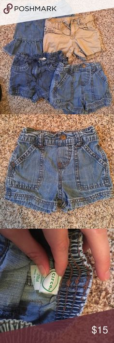 """24m/2T lot of shorts and skirt Baby gap skirt with button up """"bloomers"""" underneath, crazy 8 shorts, Circo shorts and the children's place khaki shorts. Clothes are a tad wrinkly because the live in the dresser drawers of a three year old who loves to mess up moments perfectly folded clothes 😝. In very good condition. Smoke free pet free home. GAP Bottoms"""