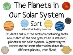 A sort activity using the nine (yes, I included Pluto) planets in our solar system.  Students must cut out the boxes and then place them in the rig...