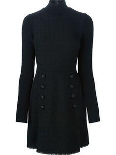 düğmeli rulo boyun elbise