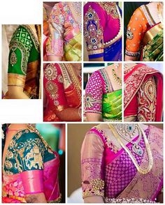What ever is the type of saree whether it is kanchipuram,uppada pattu,silk saree, grams saree it is the blouse which gives you ar… Silk Saree Blouse Designs, Saree Blouse Patterns, Bridal Blouse Designs, Silk Sarees, Moda India, Blouse Models, Bollywood, Sleeve Designs, At Least