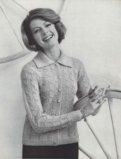 Feather Cardigan • 1950s Knitting Collared Sweater Jacket Top Patterns • 50s Vintage Pattern • Retro Women's Knit Digital PDF