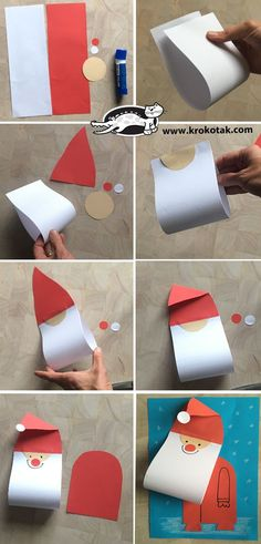 fun christmas crafts k - christmascrafts Christmas Arts And Crafts, Winter Crafts For Kids, Preschool Christmas, Christmas Activities, Kids Christmas, Holiday Crafts, Art For Kids, Christmas Decorations, Santa Crafts