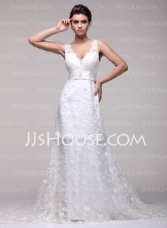 Wedding Dresses - $189.99 - A-Line/Princess V-neck Chapel Train Satin Lace Wedding Dresses With Beadwork (002016108) http://jjshouse.com/A-line-Princess-V-neck-Chapel-Train-Satin-Lace-Wedding-Dresses-With-Beadwork-002016108-g16108