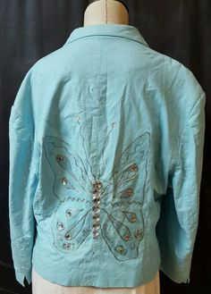 Turquoise Blue Linen Blend 2 Button Blazer Size 16 Large  Butterfly Crystals #George #Blazer