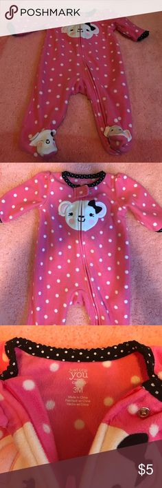 Baby Girl Footies PJs Cute Carter's fleece mouse footies PJ for 3 months old girl. A little worn, but still has a ton of life left in it. True to size. Carter's Pajamas
