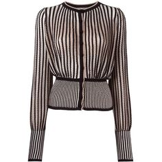 Alexander McQueen striped knit cardigan (€1.315) ❤ liked on Polyvore featuring tops, cardigans, blouses, jackets, outerwear, black, stripe cardigan, long sleeve knit tops, long sleeve tops and print cardigan