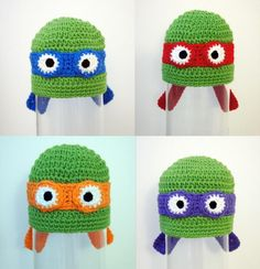 10pcs/lot Crochet Boy Hat, Teenage Mutant Ninja Turtle Hats, baby Costumes, Child Costumes, Inspired TMNT beanie hat, Animal Hat