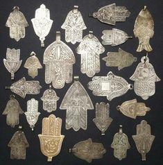 Vintage and antique silver hamsa pendants. and a fish? Fatima Hand, Hand Jewelry, Tribal Jewelry, Jewellery, Antique Jewelry, Antique Silver, Art Ancien, Hamsa Necklace, Arte Popular