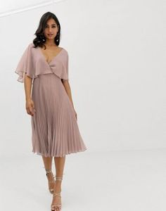 97eed8286dc ASOS DESIGN flutter sleeve midi dress with pleat skirt