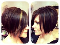 short dark hair with peek a boo highlights | Chin length shattered bob with peek-a-boo highlights