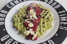 Matcha Protein Waffles & Berry Jam